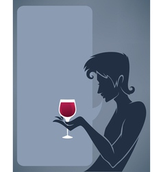 man drinking a red wine background vector image