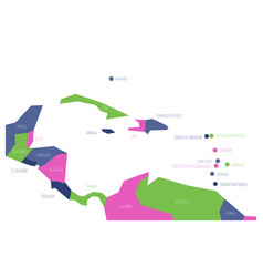 map of central america and caribbean simlified vector image