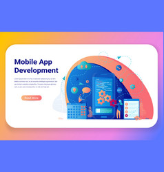 Mobile application development bussiness banner vector
