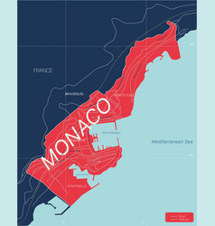 monaco country detailed editable map vector image