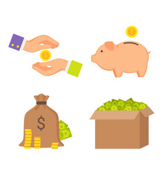 money boxes and human hands color icons collection vector image