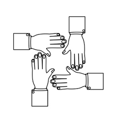 monochrome silhouette with different hands vector image