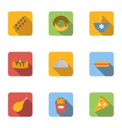 Morning meal icons set flat style vector