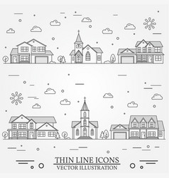 neighborhood with homes on white vector image