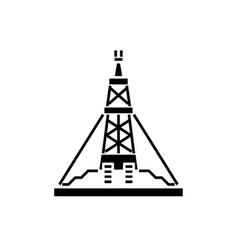 oil production platform black icon sign on vector image