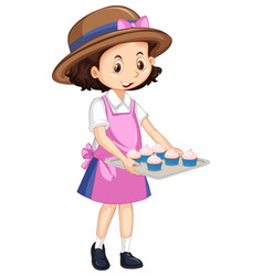 One happy girl with cupcakes on tray vector