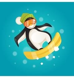 Penguin on snowboard vector image