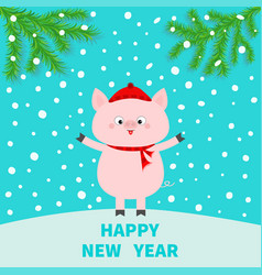 pig on snowdrift happy new year falling snow vector image