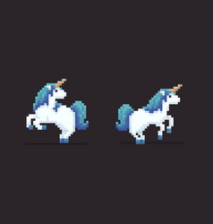 Pixel art unicorns vector