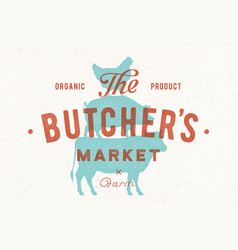 poster for butcher market cow pig hen stand on vector image
