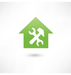 Repairing a house green icon vector