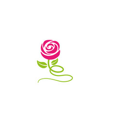 rose with leaves and long leg flower logo vector image