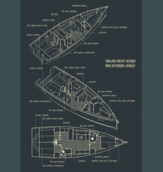 Sailing yacht design and interior layout vector