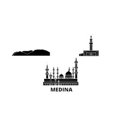 Saudi arabia medina flat travel skyline set vector