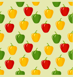 seamless peppers pattern on green background vector image