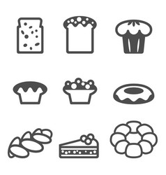 set of icons depicting desserts realistic style vector image