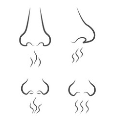 set of icons with silhouettes of the nose from vector image