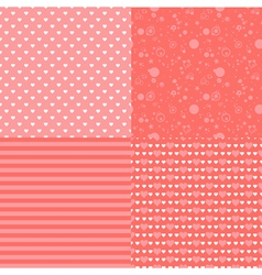 Set of seamless romantic pattern with hearts vector image
