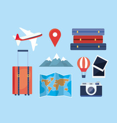 set travel adventure with location and vector image