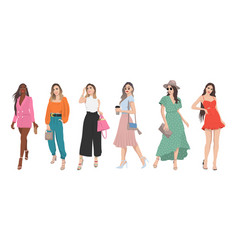set women dressed in stylish trendy summer vector image