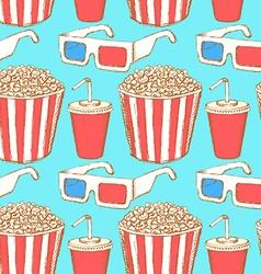 Sketch cinema set in vintage style vector image