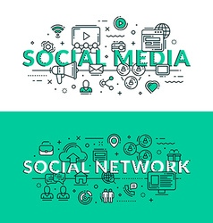 Social Media and Social Network Concept Colored vector image