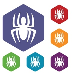 Spider rhombus icons vector image
