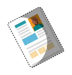 Sticker shading file info with curriculum vitae vector