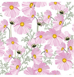 Summer autumn pattern with pink flowers vector