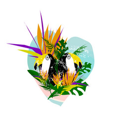 summer tropical floral collage vector image