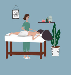 Thai massage at spa salon vector