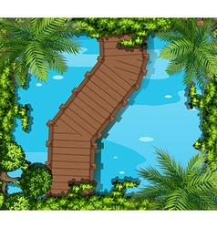 Top view of bridge and pond vector image