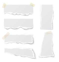 Torn note paper with adhesive tape set vector image