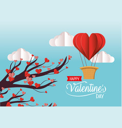 Tree with valentine hearts flowers and air balloon vector
