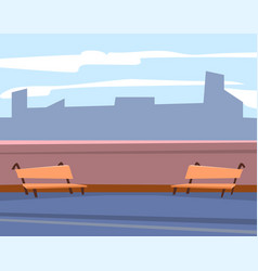 Urban terrace with bench skyscraper view vector