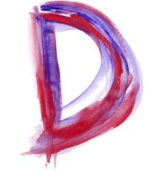 Watercolor Font LETTER D vector image