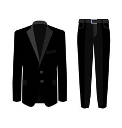 Wedding black men s suit with tuxedo collection vector