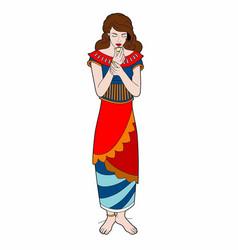Woman in ethnic dress vector
