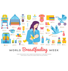 world breastfeeding week and kids elements flat vector image