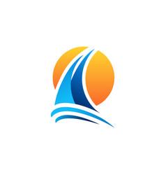 yacht sailing boat sunset logo symbol icon vector image