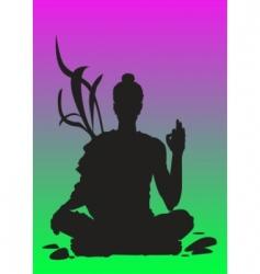 Yoga sunset meditation vector