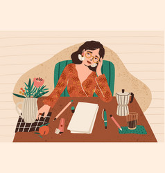 young pensive woman sitting at desk with clean vector image