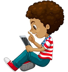 Curly hair boy using tablet computer vector