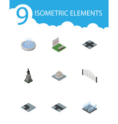 Isometric architecture set of turning road plants vector