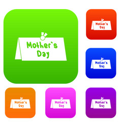 mother day postcard set color collection vector image