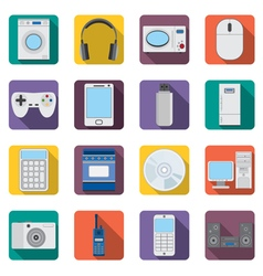 Set of flat appliances and electronic devices icon vector image vector image