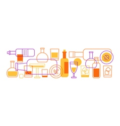 Alcohol drinks bottles and glasses background vector