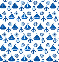 Cartoon seamless pattern with sail boats anchors vector image vector image