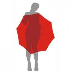 girl behind umbrella vector image
