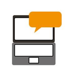 laptop technology speech bubble communication vector image vector image